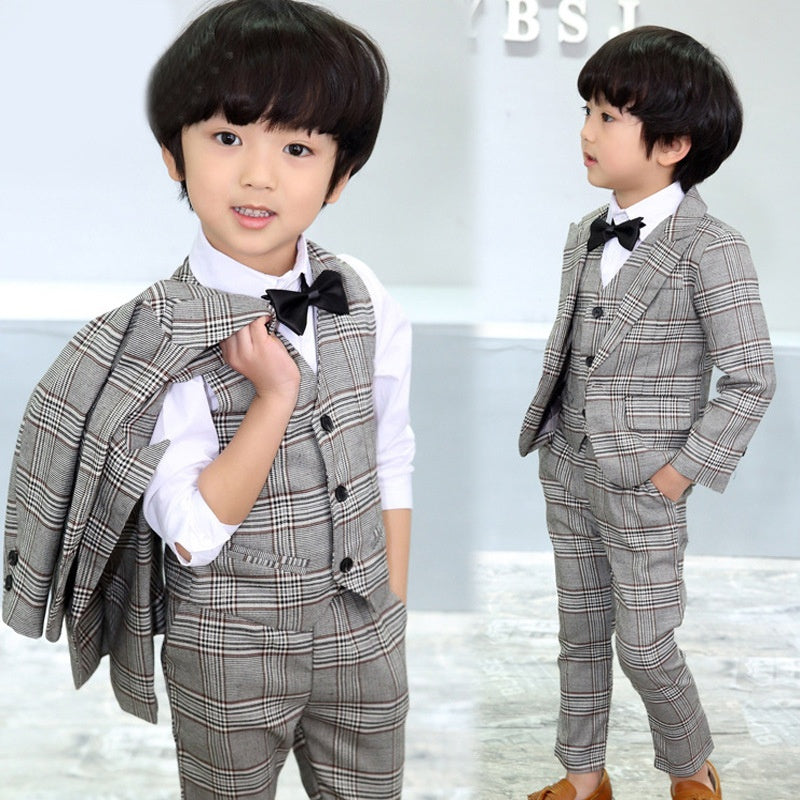 4 Pcs Kids Boy Tuxedo Wedding Formal Dress Stripes Grid Blazer Jacket+Pants Vest Bow tie Suit Boys Outfits Size for 3-8 Yrs