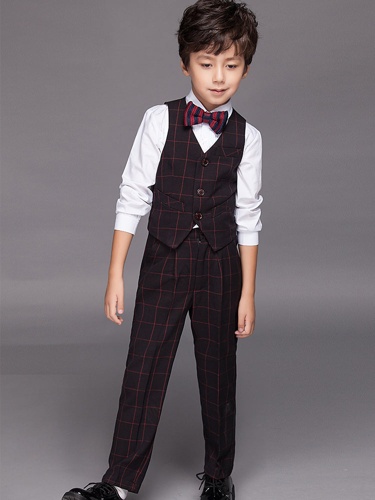 YuanLu Boys Suits Blazer Costume 4PCS Children Clothes For Wedding Party Piano Boys Dress Kids Suits Lattice