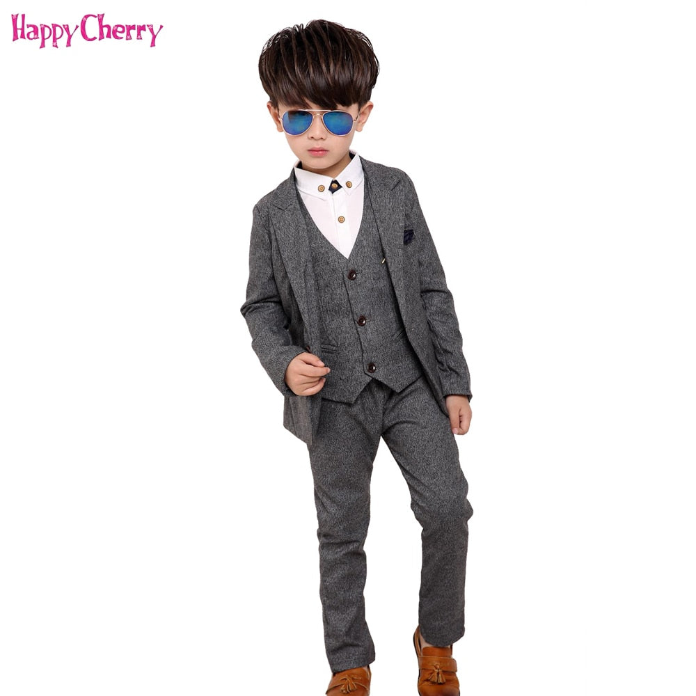 New 3pcs Kids Suits Boys Wedding Blazer Suit Single Breasted Wedding Suits Boy Formal Costume enfant garcon mariage Clothing Set