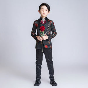 YuanLu Boys Suits For Wedding Piano Party Blazer Formal Costume Black Print Luxurious Kids Suits Slim Fit