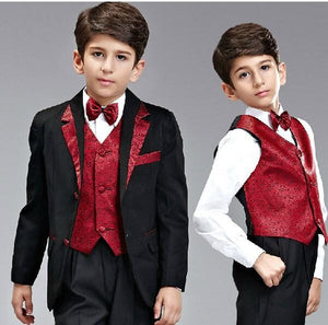 HY Boy`s suit Kids Complete Designer suit tuxedo Boys Formal Occasion wear in stock (suit+pants+jacket+bow+tie) New Arrival