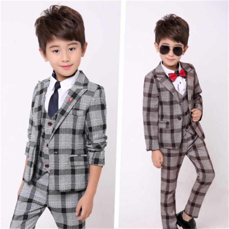 blazers for boys Spring Kids Clothes Suit formal Plaid Coat +Vest+Pants 3pcs Set Boys Wedding Suit 24M12T boys suits for wedding