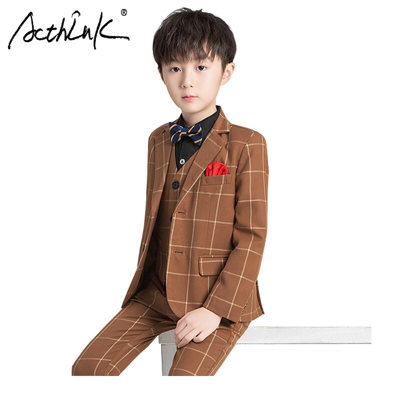 ActhInK 3Pcs Boys Vest Suit New Big Boys Plaid Formal Suit Boys Khaki Wedding Suit  Kids Wedding Blazer Suit Boys Plaid Tuxedos