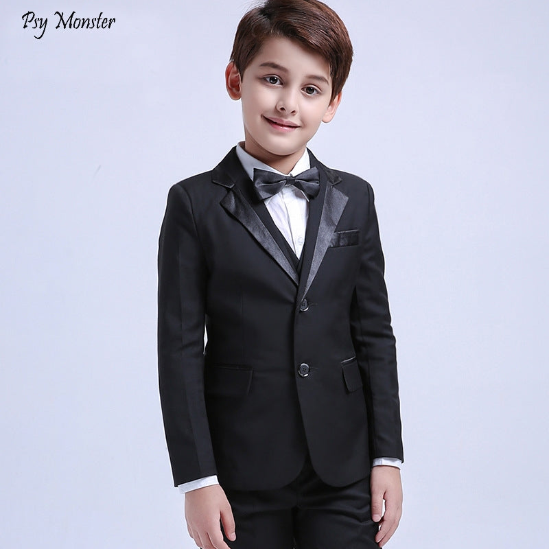 5pcs Children's Formal Dress Suit Sets Flower Boy Piano Party Prom Performance Host Costume Kids Blazer Vest Shirts Pants Bowtie