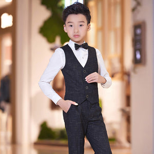 ActhInK New Design 4Pcs Boys Vest Suit Big Boys Graduation Costume Wear Children Formal Wedding Suit Boys Plaid Suits Vest+Shirt