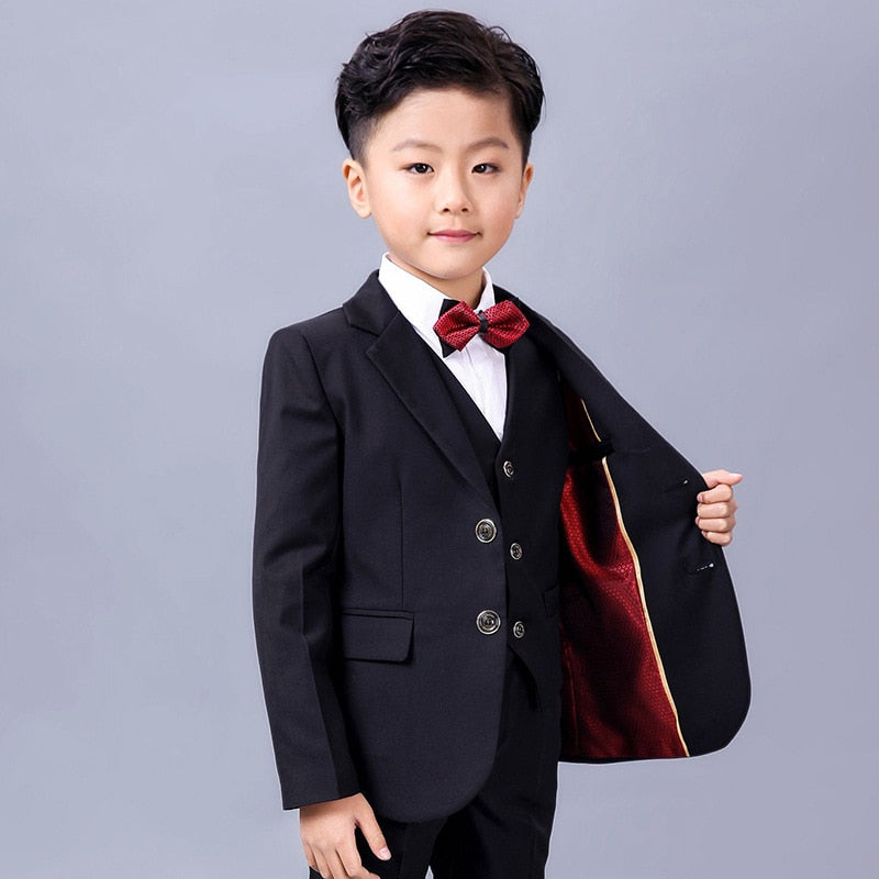 Boys 5pcs/set Suits For Wedding Flower Boys Dress Boys Blazer Jackets Set Black Blazer Dress Costume Formal Blazer Suits H113
