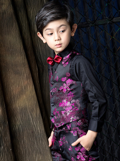 YuanLu 4PCS Boys Suits For Wedding Party Kids Suits Baby Blazer Dress Child Clothes Formal Toddler Boys Suits (2T-14)