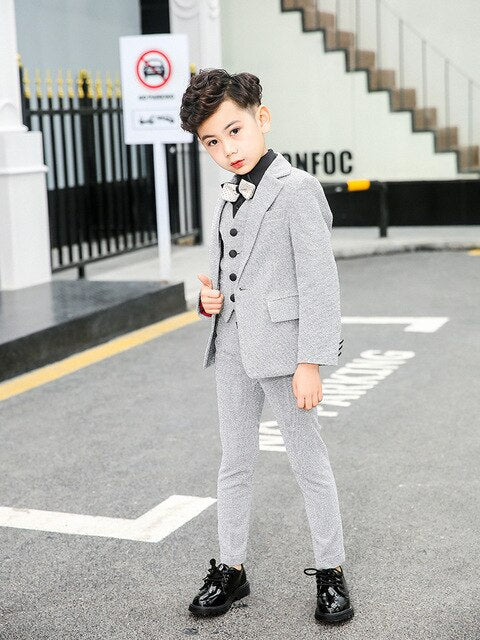 Boys Suits Blazer Formal Coat 2T-14 For Wedding Party Piano Toddler Clothes Silver Kids Suits