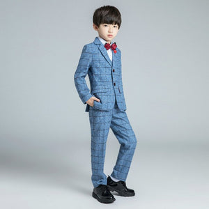 YuanLu Boys Suits For Wedding Party Piano Kids Suits Baby Tuxedo Blazer Dress Child Clothes Formal Costume Plaid Light Blue