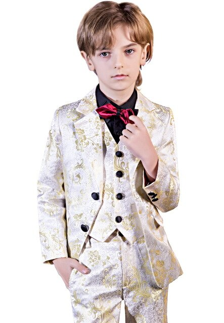 YuanLu Kids Suit For Boy Flower Print Wedding Blazer Jacket Formal Costume Toddler Clothes British Style