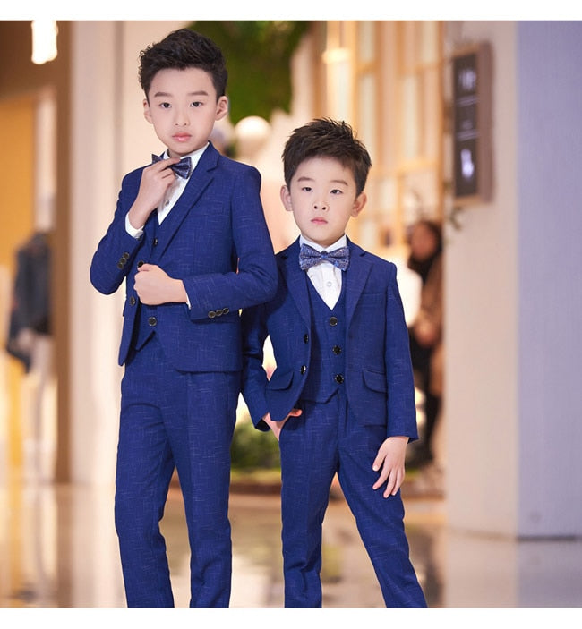 6 Pcs Blue Black boys gentleman suits for weddings kids Blazer Suit for boy costume garcon mariage tuxedo School clothing set