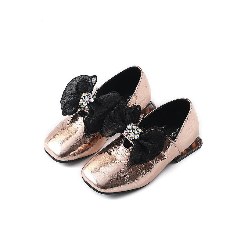 Bekamille Autumn Kids Shoes for Girls Leather Shoes Hee Fashion Glossy Bow Diamond Infant Big Girls Party Shoes