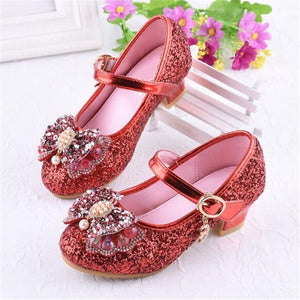 New Spring/Autumn Crystal shoes Girls Princess Baby Dance Party Fashion Rhinestone High-heeled Student Kids Leather Shoes 04