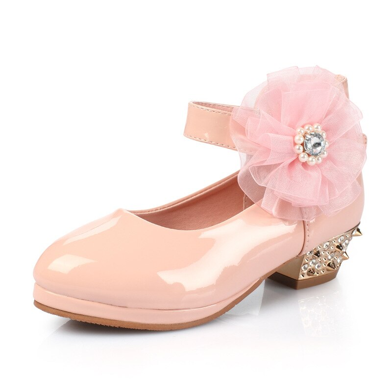 2019 High Heel Children Shoes For Flowe Girls Shoes For Party And Wedding Princess Leather Big Girl School Shoe Kid 3-15 Years