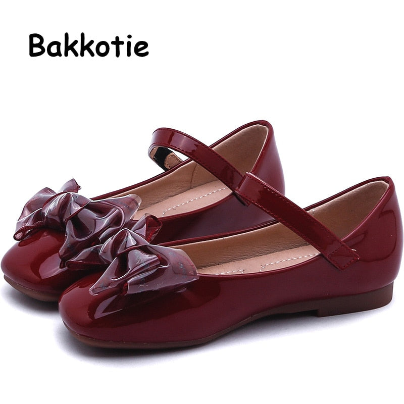 Bakkotie 2019 Kids New Pu Leather Shoes Autumn Girls Fashion Bowtie Red Mary Jane Flats Children Sweet Princess Party Shoes