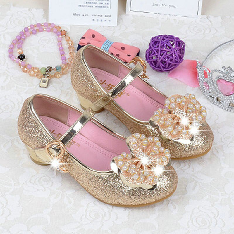 2018 Girls Kids Children Princess Sandals Leather Shoes Pearl Bowtie Party Dancing High Heels Shoes For 4~12 years old