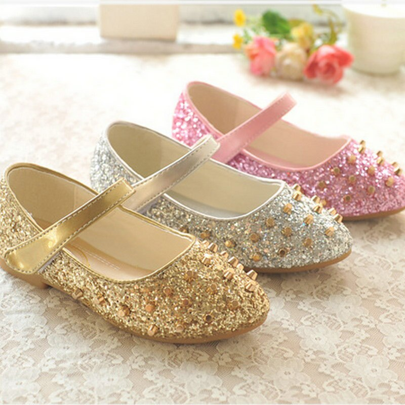 Fashion girls flats shoes princess shoes leather flat bottom wedding shoes children's party dance shoes for girls