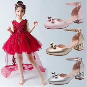 Children High-heeled Shoes Princess Kids Girls Party Shoes Teenager Baby Dance Leather Sneakers Girls Kids Student Dress Shoes