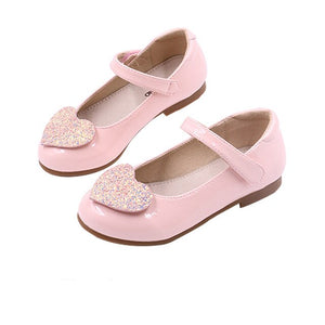 Kalupao Children Shoe Fashion Leather Child Sandals Princess Shoes Love Glitter Party Shoes For Kids Girl Pink Red Black Shoes