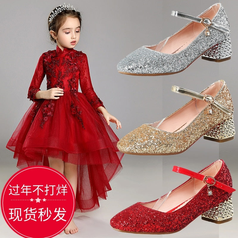2019 female big student children girls leather glitter dance shoes party dress show crystal shoes gold silver 4-18years old