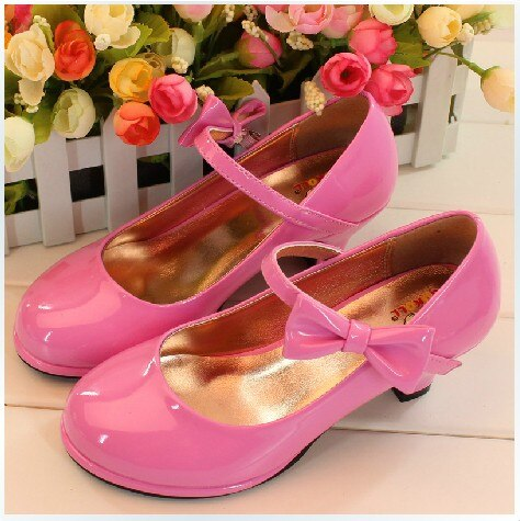 Bows Autumn Winter Christmas Children Shoes Pink Party Girls Shoes with Heels