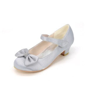 Creativesugar girls satin square kitten heel flower girl wedding dress shoes rounded toe prom brithday party heels sweet bowtie