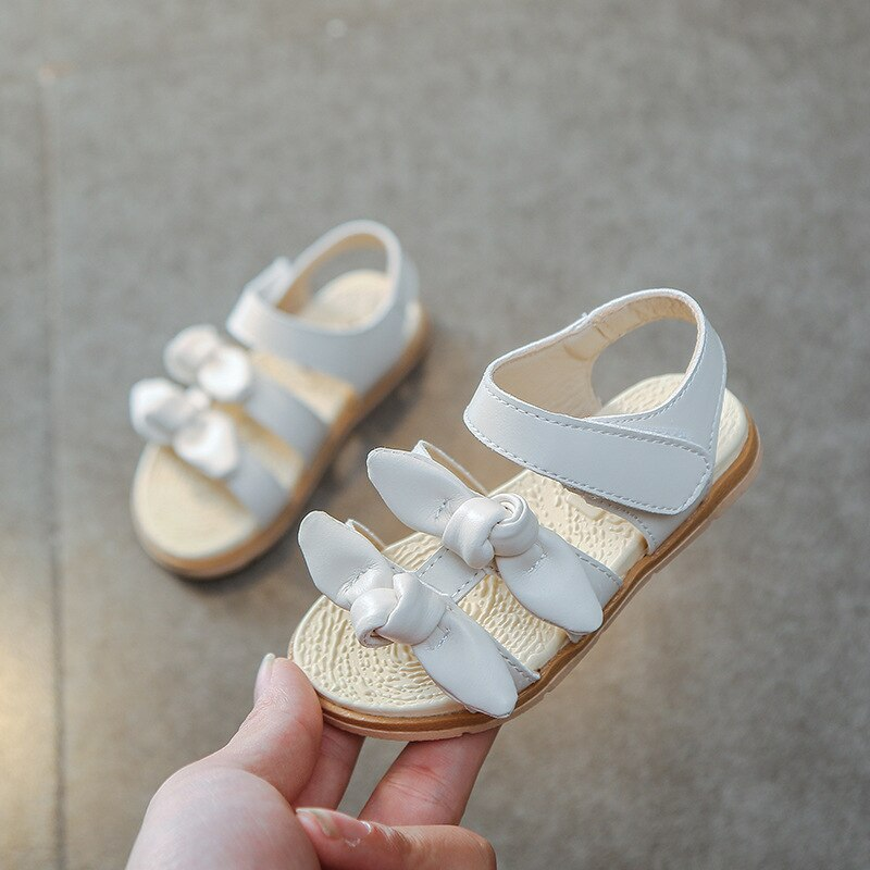 13-15CM Girl Sandals White Double Bow Simple Toddler Girl Summer Beach Shoes Baby Princess Party Shoes