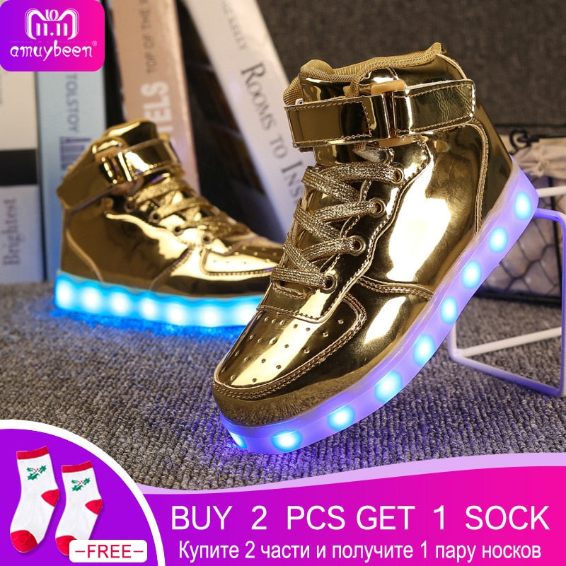 Led Luminous Shoes Kids Light Up Shoes Children Boys Girls Adults Fashion USB Charger Party Glowing Sneakers Shoes