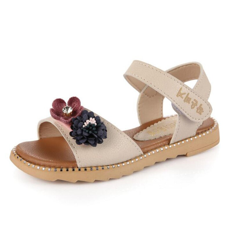 2018 New Children's Shoes PU Leather sandals for girls high quality princess flower sandals casual kids beach sandals size 26-37