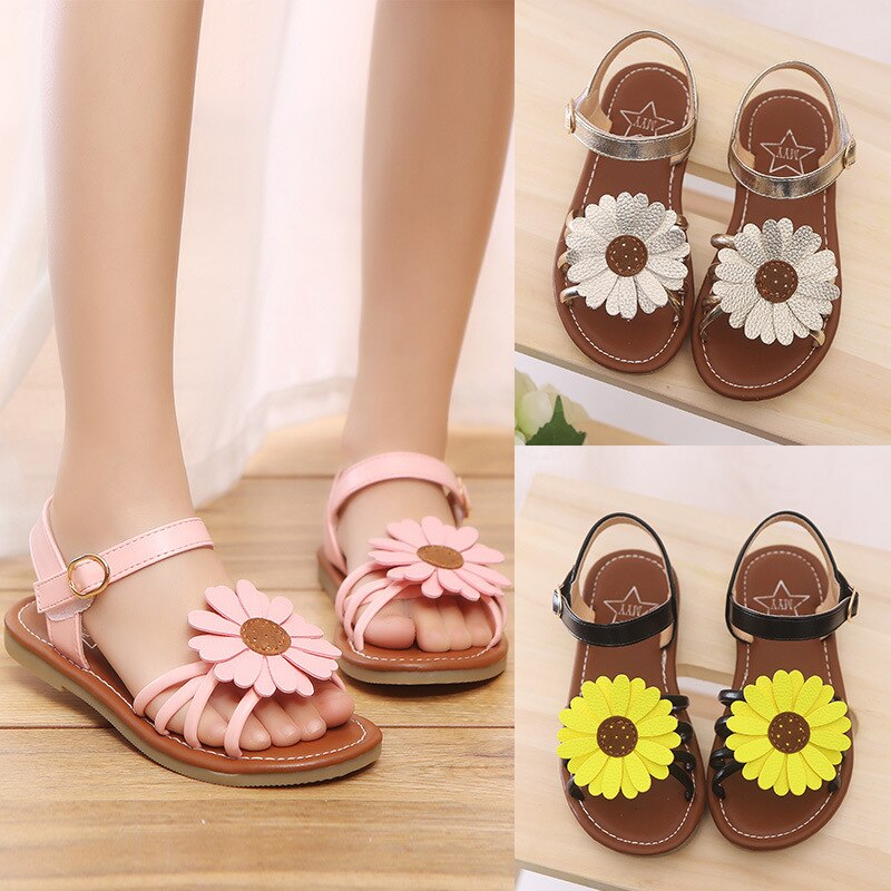 2019 New Girls Sandals Fashion Flower Child Shoes High Quality Cute Girls Party Shoes Casual Kids Dress Sandals Size 21-36