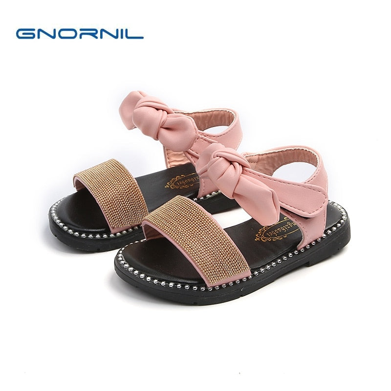 2018 New Girl Sandals Fashion Hook Leather Children Shoes Rhinestion Flats Baby Casual Shoes  High Quality Kids Sandals
