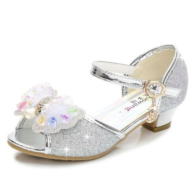 Good Quality Children Gold Flower Pearls Shoes 2019 New Girls High Heel Sandals Kids Wedding Shoes Children Size 26-37