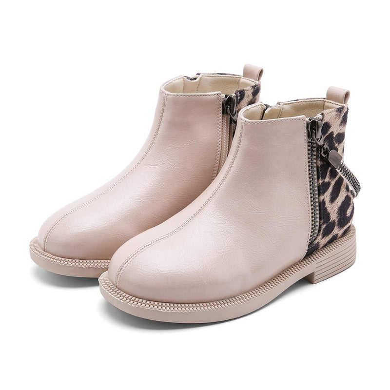2019 autumn winter Leopard Print girls boots new fashion casual little kids boots for girls Brand High-quality children shoes
