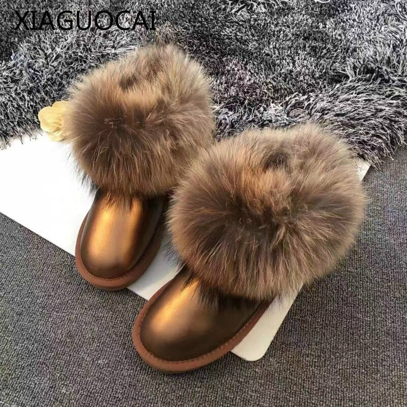 2018 Winter High quality Cowhide Girls snow boots 100% Genuine Leather Fox Fur warm baby shoes short ankle for children A49 27