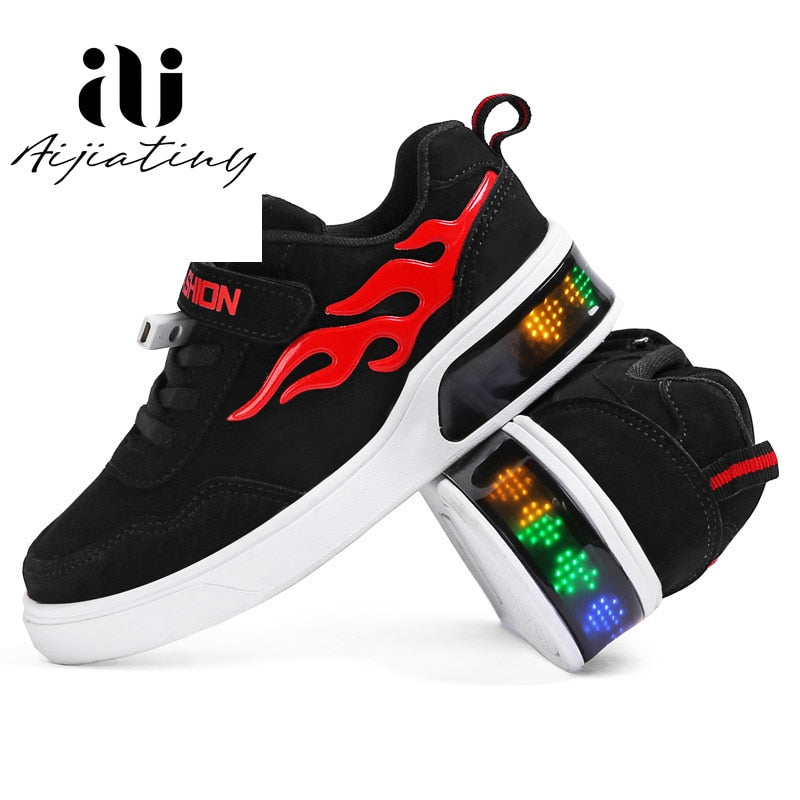 kids Led usb charging glowing Sneakers Children hook loop Fashion luminous shoes for girls boys skate shoes