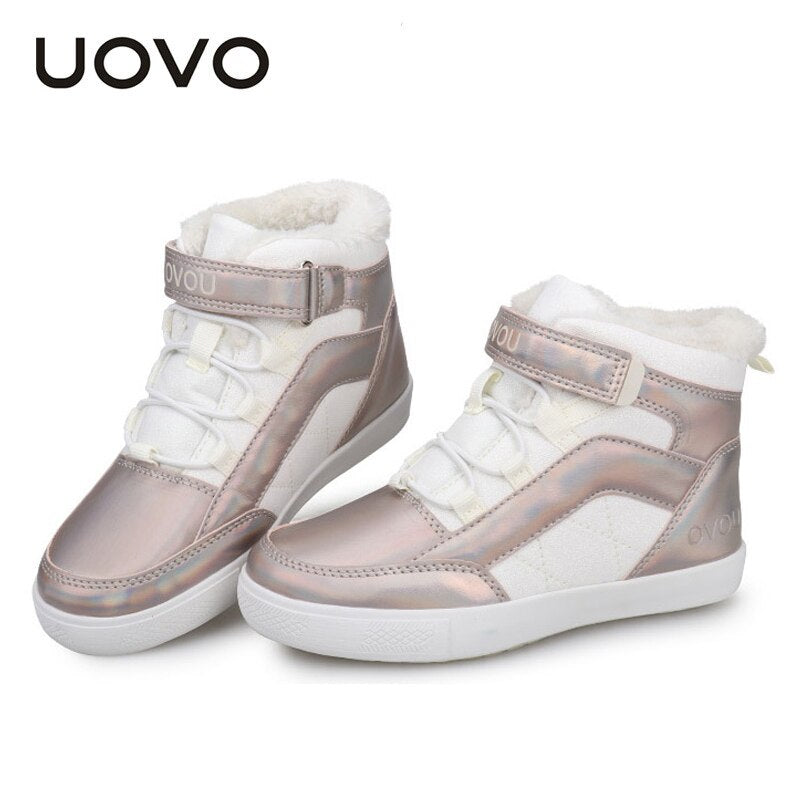 Children High Top Sneakers Uovo Brand Autumn Winter PU Leather Shoes with Velvet Lining Boys Girls Flat Casual Princess Zapatos