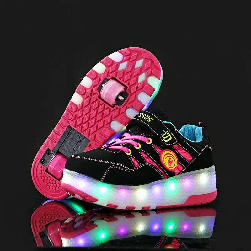 Children Glowing Sneakers Boys Girls with Wheels Kids Sneakers LED Light Up Shoes Breathable Sport Casual Roller Skate Shoes