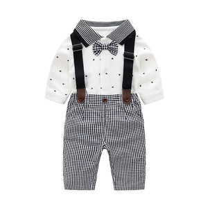 IYEAL Newborn Baby Boy Outfits Set 2pcs Long Sleeves Bow Ties Shirts + Plaid Suspenders Pants Toddler Boy Gentleman Suits 0-18M