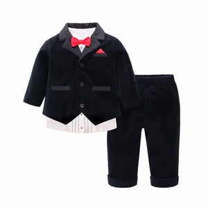 Baby Boy clothes Newborn clothes Baby Birthday Clothes Gentleman Style Suits Baby Shirt Pants Jacket 3pcs Infant Sets