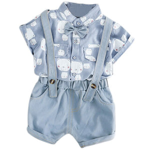 Real Newborn Clothes Summer Baby Boy Suit Cartoon Strap Shorts Two-Piece Men