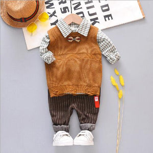 Baby Boy Clothes 2019 Korean Fashion Sweat Vest + Lapel Plaid Shirt + Pants 3 Piece Set Newborn Suit Outfits Bebes Jogging Suits