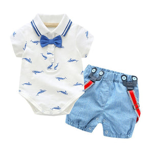 2pcs Newborn Boys Clothes Set Infant Baby Bowtie Formal Clothes Suit Romper Striped Shorts Overalls Gentleman Outfit Set Summer