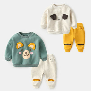 Baby Kids Casual Autumn Clothes 2 Pcs Little Boys & Girls New Cute Cartoon Animal Clothing Set Newborn Sports Sweater Suit P138