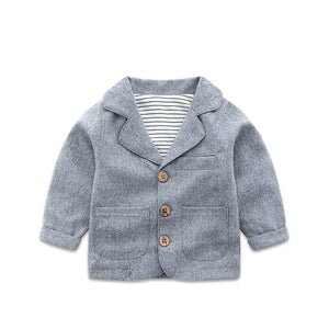 Baby Grey Suit Coat Spring and Autumn Little Boys Clothes Jacket Long Sleeve Fashion Outerwear For Newborn Babies Aged 0-3Y P176