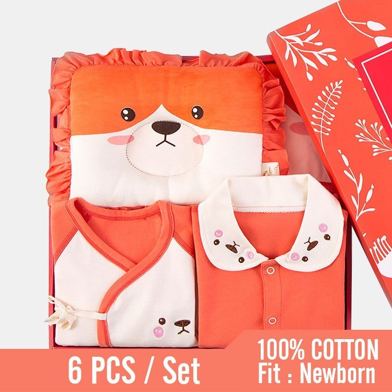 New Orange Fox Winter Baby Clothes Suits 6PCS Newborn Boys Girls Romper+Blanket+Suits+Pillow 100% Cotton Infant Soft Clothing
