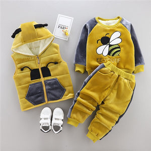 2019 Kids Casual Fashion Warm Thicken Suit Newborn Baby Cartoon Vest+coat+pant 3pcs 0-4 Years Winter Boy Girl Clothing Set