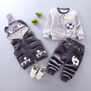 Baby Girl Clothes 2018 Korean Autumn Winter Models Plus Velvet Thick Sweater Vest Pants 3PCS Suit Newborn Baby Boy Sportswear