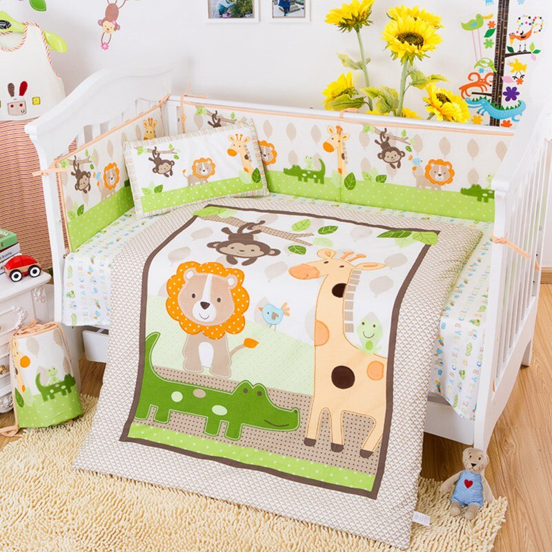 Customized 7pcs Cotton Baby Bedding Sets Cute Cartoon Forest Animal in Crib Newborn 4pcs Bumpers+Duvet Cover+Pillow Case+Sheet