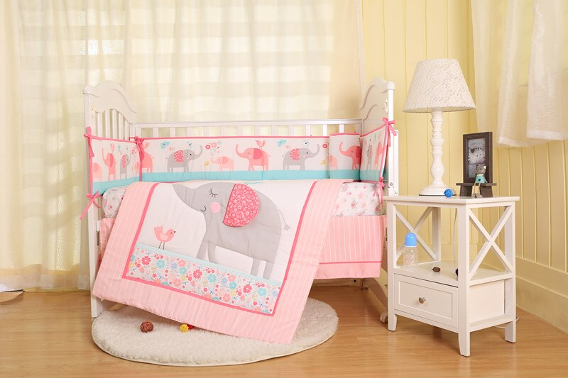 7PCS pink elephant embroidery Baby Crib Bumpers to Cot Bedding Set Newborn Cartoon,include(4bumpers+duvet+bed cover+bed skirt)