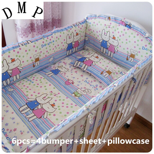 2017! 6PCS Baby crib bedding set For Bed 100% cotton Newborn Bed sheets (bumpers+sheet+pillow cover)